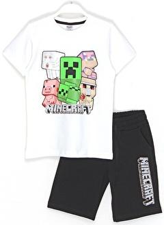 Minecraft Minecraft Erkek Çocuk Tişört Şort Alt Üst Takım 5-6 Yaş Beyaz